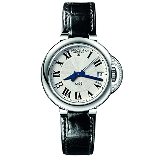 Bedat & Co Women's No.8 Diamond 36.5mm Black Leather Band Steel Case Automatic Analog Watch 828.020.600