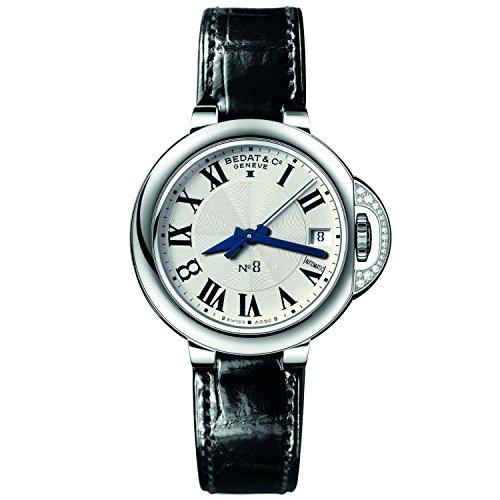 Bedat & Co Women's No.8 Diamond 36.5mm Black Leather Band Steel Case Automatic Analog Watch 828.020.600 (Bedat Diamond Watch)