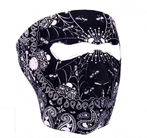 Black White Spider Web Skull Paisley Neoprene Full Face Mask ATV Ski Biker