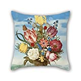 Slimmingpiggy Oil Painting Ambrosius Bosschaert - Bouquet Of Flowers On A Ledge Throw Pillow Covers ,best For Home Theater,boy Friend,festival,father,gf,her 20 X 20 Inches / 50 By 50 Cm(2 Sides) offers