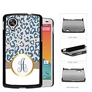 Customized Teal Blue and Gray Leopard Pattern Animal Print with Gray and White Vertical Stripes on Bottom and Light Pink and Blue Round Monogram in Center Outlined in Gold Hard Plastic Snap On Cell Phone Case LG Nexus 5