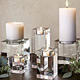 BulzEU Crystal Pillar Candle Holder Led Candles Display Holders Stand - Ideal Gift for Wedding, Party, Home, Spa, Reiki, Aromatherapy - Home Ornaments Party Wedding Ceremony (5 * 8cm)