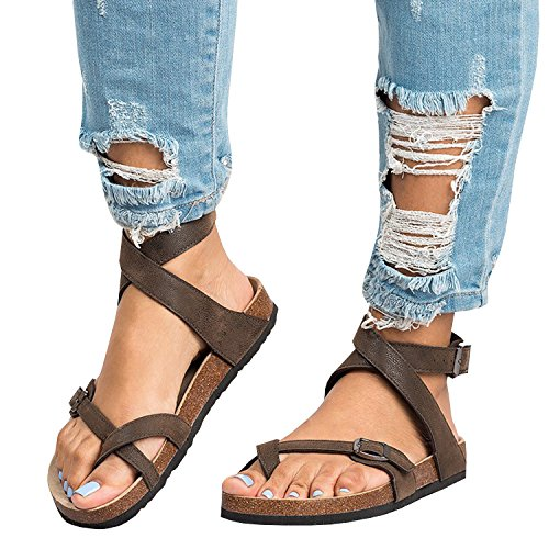 (Feel Show Womens Criss Toe Ankle Straps Buckle Thong Flip Flops Flat Gladiator Sandals)