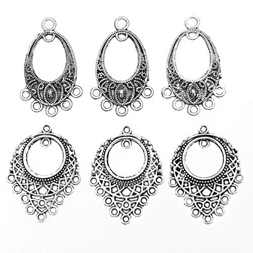 Monrocco Antiqued Tibetan Silver Earring Chandelier Earring Charm Pendant for DIY Jewelry Making Findings, 20 pcs with 2 Styles