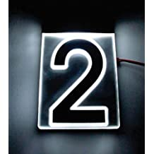 "NUMBER ""2"" EDGE LIT ACRYLIC ADDRESS SIGN MODULAR LED LIGHTED ILLUMINATED ACRYLIC HOUSE NUMBER"