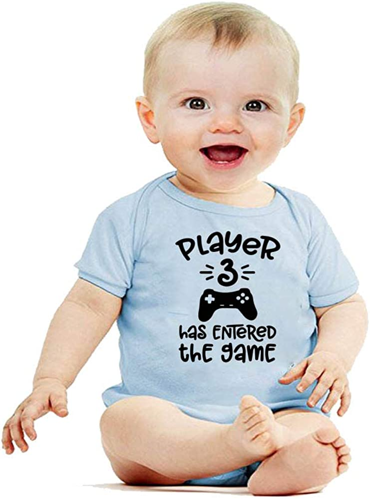 YSCULBUTOL Baby Twins Player 3 Player 4 Has Entered The Game Bodysuit Funny Twins Outfit Boy Girl Shower Gifts
