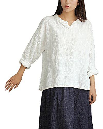 Linen Pullover - IDEALSANXUN Women's Cotton Linen Long Sleeve Baggy T-Shirt Pullover Top Plus Size (Medium, 1-White)