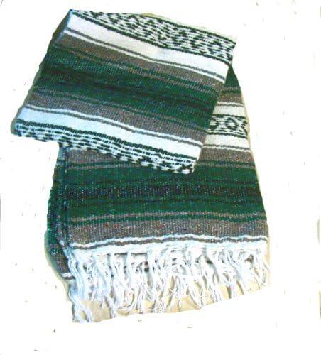 Amazon.com: Verde auténtico falsa mexicano manta alfombra ...