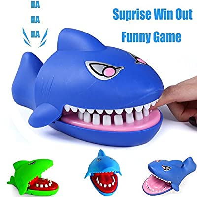 PartyYeah Shark Biting Finger Game Funny Toys for Children Kid Adult, Crocodile Mouth Dentist - 1 to 4 Players, Ages 4 and Up, in Random Colors: Toys & Games