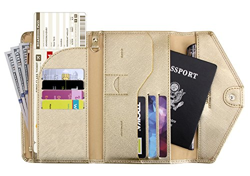 Zoppen Multi-purpose Rfid Blocking Travel Passport Wallet (Ver.4) Tri-fold Document Organizer Holder (#32 Champagne (2018 New))