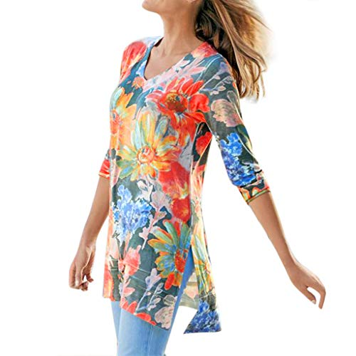 (Womens Sexy Tops 2019, YEZIJIN Women Plus Size Long Sleeve Rendering Print V-Neck Print Pullover Tops Shirt)