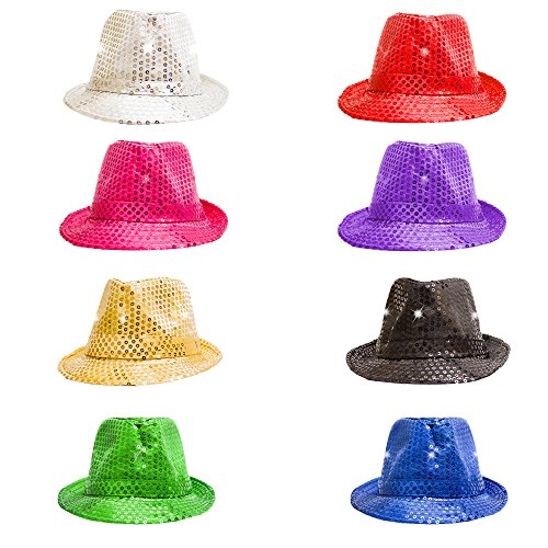 Fun Central O993 LED Light Up Sequin Fedoras - Assorted Colors 12ct by Fun Central (Image #4)