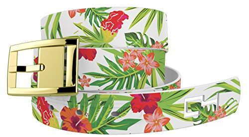 Tropical Floral White Golf Belt with Gold ()