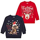 Metzuyan Children's Unisex Novelty Christmas Printed Sweater Santa Paws & Rudolph 4-5 Years