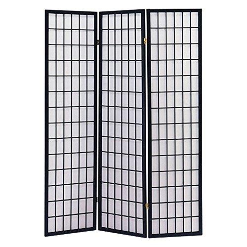 The Furniture Source 3 Panel Wood Shoji Screen/Room Divider, Natural Black -