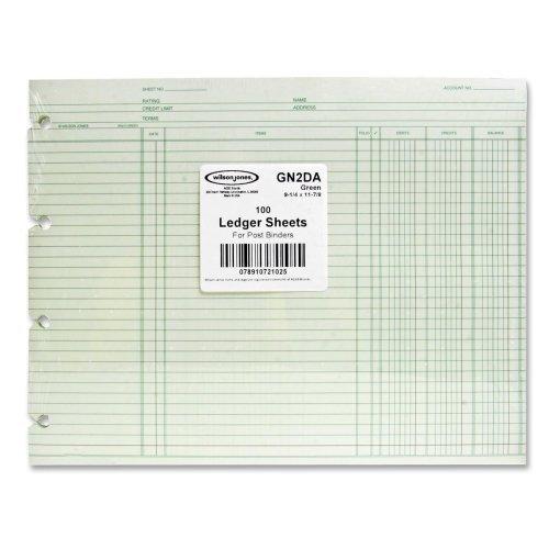 Wilson Jones Regular Ledger Sheets - 9.25 x 11.87 Sheet Size - Green - 100 / Pack by Wilson Jones®