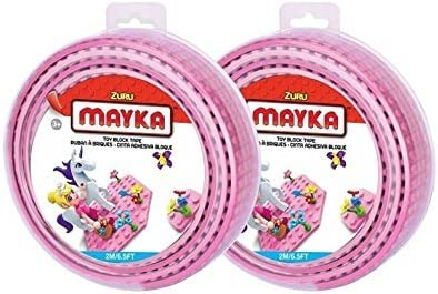 Mayka Toy Block Tape  4 Stud Pink 2 Pack Leading Brand Compatible 6.5 Feet