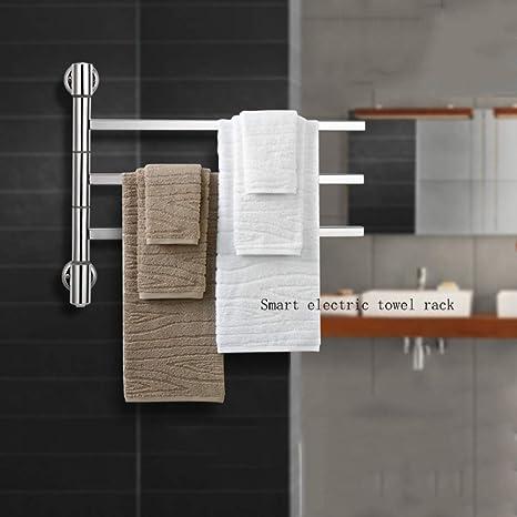 JackeyLove Calentador de Toallas termostático eléctrica climatizada toallero Panel Blanco radiador baño,A