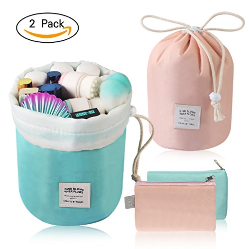 MAANGE Travel Makeup Bags 2PCs Waterproof Makeup Bag Cosmetic Bag Organizer Bathroom Storage Carry Case Drawstring Dresser Pouch with Mini Pouch & Clear PVC Makeup Brush Bag (Light Blue & Pink) by MAANGE (Image #8)