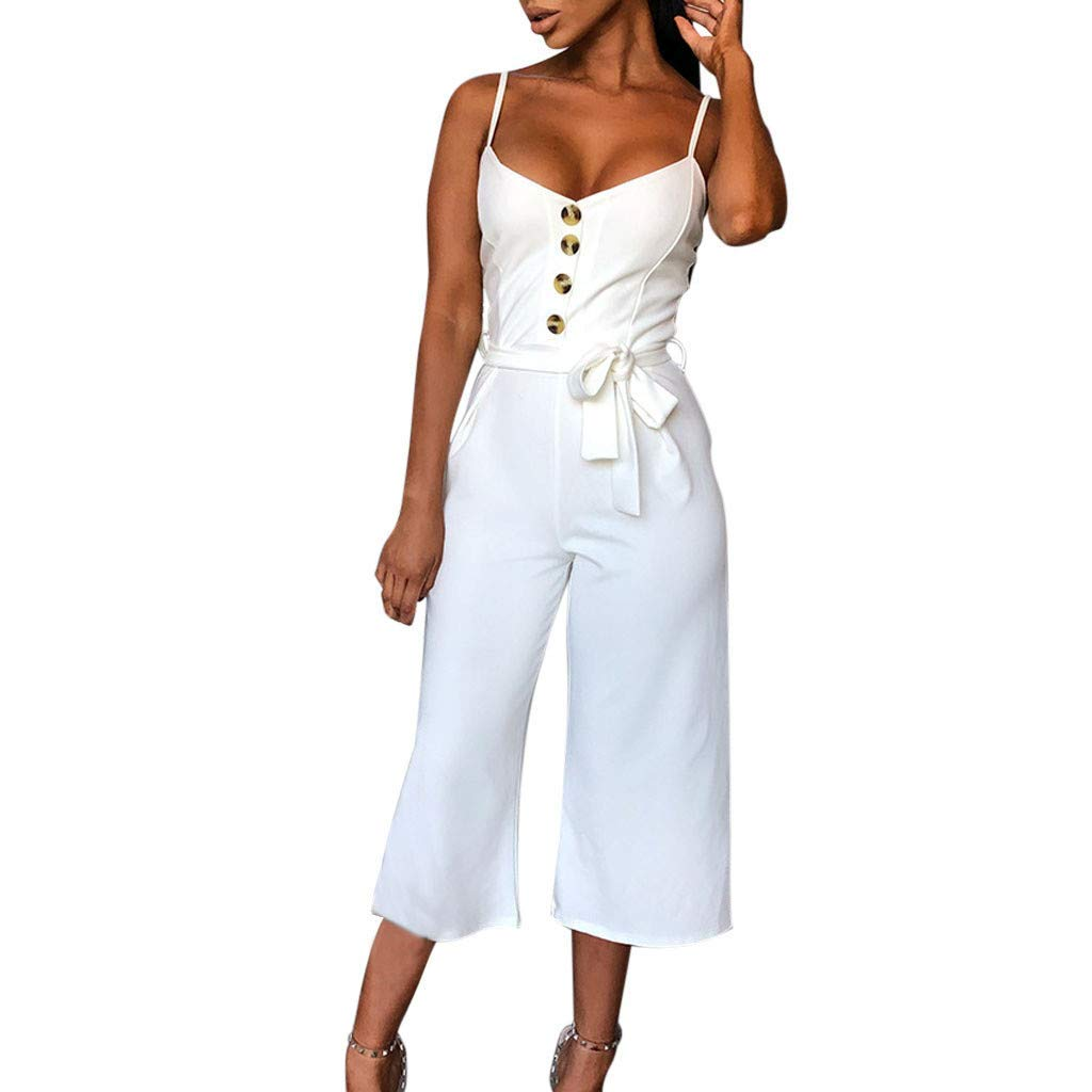 GWshop Ladies Fashion Elegant Jumpsuit Summer Jumpsuits for Women Casual Button Off Shoulder Sleeveless Rompers with Belt White S
