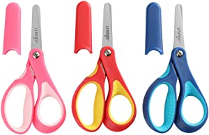 "LIVINGO 5"" Small School Student Blunt Tip Kids Craft Scissors, Sharp Stainless Steel Blades Safety Soft Grip Handles for Children Cutting Paper, Assorted Color, 3 Pack"