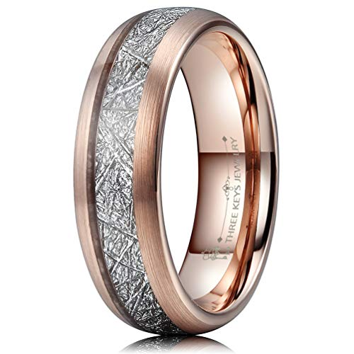 Three Keys 6mm Tungsten Wedding Ring for Women Domed Imitated Meteorite Inlay Brushed Rose Gold Womens Meteorite Wedding Band Engagement Ring Promise Ring Size 11 ()