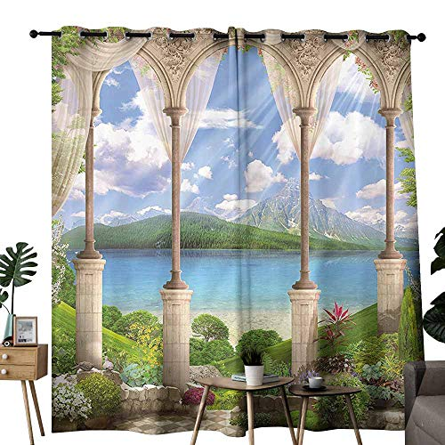 Italian Decor Insulated Curtains Old Ancient Stone Arch View The Sea Balcony Fresco Garden Plants Spiritual Wedding Party Home Window Decoration W72 xL72 Multicolor -