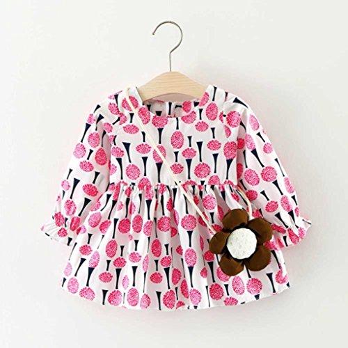 Amlaiworld Baby Mädchen bunt Sonnenblume druck langarm kleider+ blumen Tasche Niedlich Kleinkind kleidung,6-24Monate Rosa