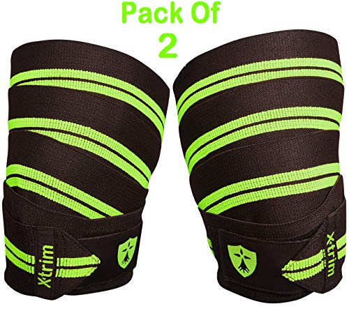Xtrim DURA FIT-Knee WRAP-Competition Grade-Pack of 2-Polyester Knee Support for All Sports Activities.Length 2 Meters(78 inches) Low Compression,Soft,