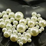 JuXinDa decorative pearls 1-Lbs loose beads vase filler (20mm, Ivory) (20mm)