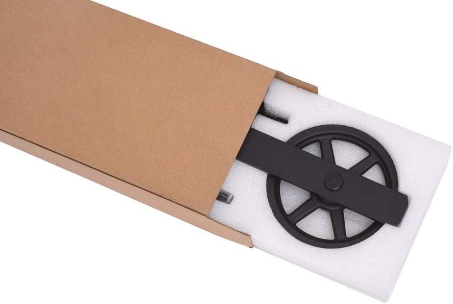 167cm//5.5FT Schiebet/ürbeschlag Set Schiebet/ürsystem Zubeh/örteil f/ür Schiebet/üren Innent/üren Schwarz//Sliding Barn Door Hardware Kit Big Spoke Wheel