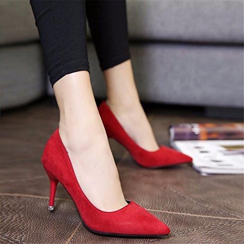 Chaussures nbsp;pendant printemps automne chaussures Chaussures la single Satin hauts et Talons travail rouge femme en hxvu56546 de Ow1Ed1