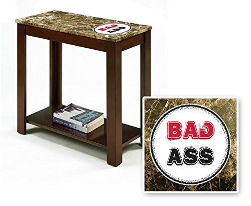 New Rectangular Top Espresso / Cappuccino Finish Night Stand End Table with Faux Marble Table Top featuring Bad Ass Theme