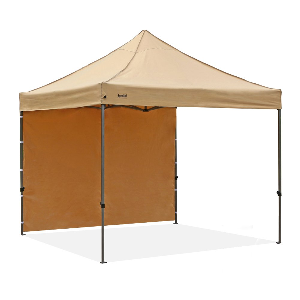 Spaceland 10'x10' Ez Pop-up Portable Commercial Instant Folding Canopy with One Single Sidewall and Roller Bag, Beige