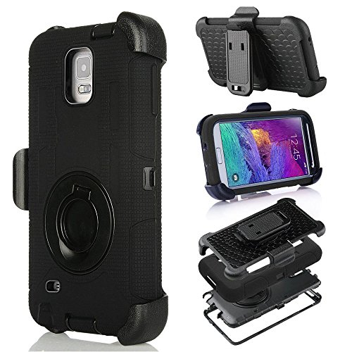 Note 4 Case ,Galaxy Note 4 Case Iatech Ultra Shock&drop-proof Amy-grade Protective Hard Defender Case and Three Layer Hard Shell Cover Holster with 360 Degree Rotating Ring Bracket Protective Case for Samsung Galaxy Note 4-- TPU Rubber & Silicone Case with Stand & Clip for Samsung Galaxy Note 4 (Black)