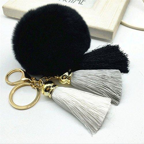 MONOMONO-Cute Tassel Rabbit Fur Ball PomPom Car Keychain Handbag Charm Key Ring Pendant - Malls Tucson