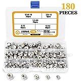 VIGRUE 180PCS 1/4-20 5/16-18 3/8-16 8-32 10-32 Lock Nut Assortment Kit, 304 Stainless Steel Nylon Insert Hex Locknuts