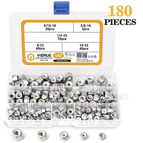 Keadic 100 Pieces Metric Black Zinc Plated Nylon Insert Lock Nuts Assortment Kit