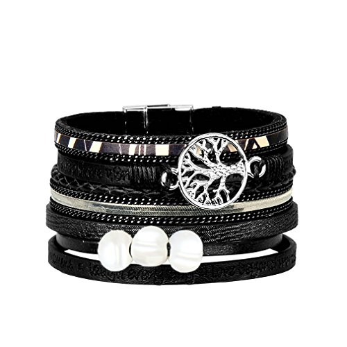 JAOYU Leather Bracelet for Women Pearl Bracelets for Girls Cuff Bangle Handmade Jewelry - Sister, Mother Gifts - with Alloy Buckle by JAOYU
