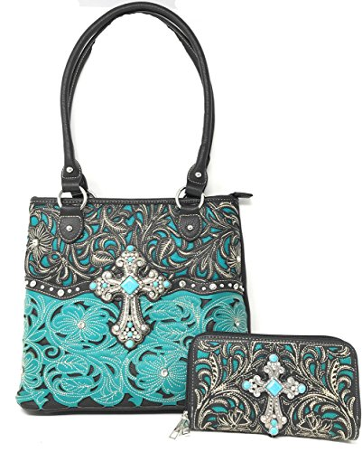 Concealed Carry Western Rhinestone Cross Floral Tooled Women's Tote Handbag with Matching wallet One Set in 4 Colors (Turq)
