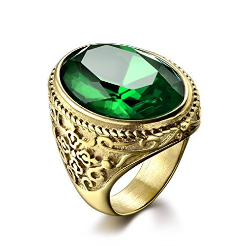 MASOP Mens Crystal Stainless Steel Rings with Green Cubic Zircon Gold Color Wedding Mids -