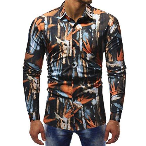 Sunhusing Mens Fashion Print Slim T-Shirt Casual Long Sleeve Shirt Office Work Shirt ()