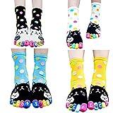 Women Toe Socks Funky Finger Socks Plump Cat and Polka Dots Pattern 4 Pairs/Pack