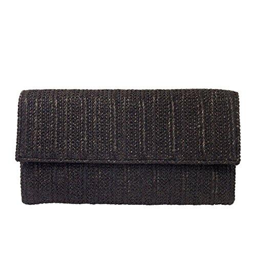 Natural Straw Flat Clutch, Black Clutch Black Straw Handbags