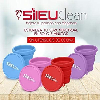 Sileu Esterilizador Plegable de Silicona con Tapa Reutilizable para Esterilizar la Copa Menstrual en el Microondas - Color Morado: Amazon.es: Salud y cuidado personal