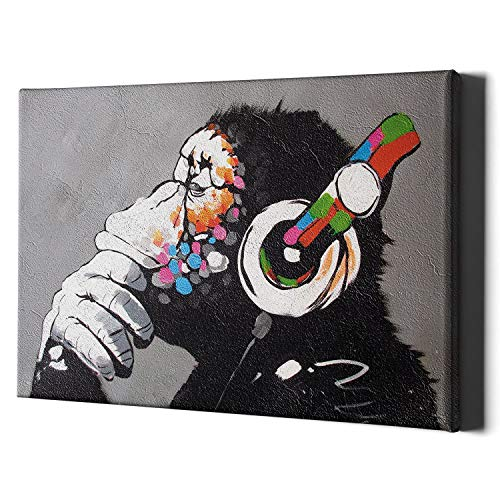 Thinking Monkey Headphones Canvas Wall Art Print - Banksy Dj Gorilla Thinker Nursery Large Framed Decor Music Funny Street Graffiti Bedroom