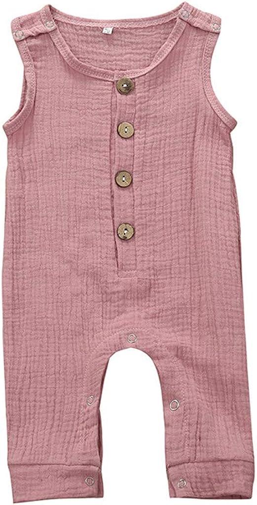 Lenfesh 3-18 Meses Ropa de recién Nacido Trajes Bebés Bebés Niñas Niños Color sólido Sin Mangas Algodón Botón Mameluco del bebé Mono