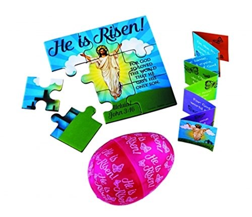 He is Risen Easter Eggs with Puzzle and Scripture Booklet, Pack of 24