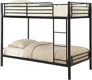 4D Concepts Tool Less Boltzero Bunk Bed, Twin, Black Metal