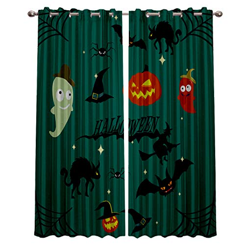 Blackout Grommet Curtains for Living Room Halloween Witch Cat and Pumpkin Home Decor Treatment Thermal Darkening Drapes Window Curtains for Bedroom (2 Panels, 27.5 x 39 Inch Each Panel)